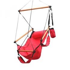 Flexzion Tali Gantung Kursi Ayunan (Merah) AIR DELUXE Sky Swing Kursi Luar Rumah Kayu Solid 250lb dengan Bantal Lengan Menangkap Pijakan Kaki dan Dudukan Tempat Minum untuk Patio Furniture Berkemah Perjalanan teras Lounge-Intl