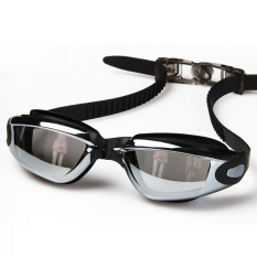 FLY Unisex Streamline Plating Plain Swimming Goggles(Black)