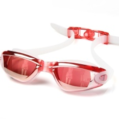 FLY Unisex Streamline Plating Plain Swimming Goggles(Red)