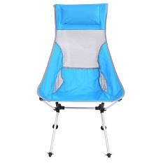Folding Aluminium Alloy Kursi Kursi Roda dengan Tas untuk Piknik Berkemah Di Luar Ruangan Pantai (Biru)-Intl