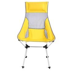 Folding Aluminium Alloy Kursi Kursi Roda dengan Tas untuk Piknik Berkemah Di Luar Ruangan Pantai (Kuning)-Intl