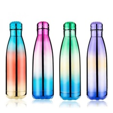 Frola-Reusable Stainless Steel Botol Air, Vakum Dinding Ganda Terisolasi, Ecofriendly untuk Minuman Panas atau Dingin, 17 Ounce/500 Ml, Hadiah Terbaik untuk Olah Raga Outdoor Travel (Rainbow Green)-Intl