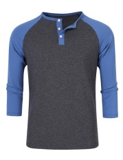 FS Young Horse Men's 3/4 Sleeve Slim Cotton Henley T-Shirts