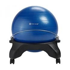 Gaiam Tanpa Bagian Belakang Balance Bola Kursi-52 Cm Bola Stabilitas Meja Rumah & Kantor Kursi dengan Pompa Inflasi, biru-Internasional