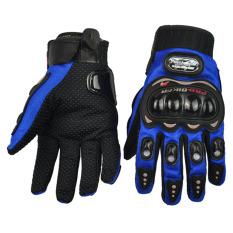 GETEK 2015 Pro-Biker Carbon Fiber Bike Motorcycle Motorbike Racing Gloves Full Size M-XXL (Blue)