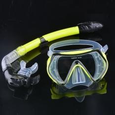 Getek Scuba Diving Masker Selam Kacamata Snorkeling Satu Set Peralatan Kolam Renang Silikon Kuning Tiongkok Diskon 50
