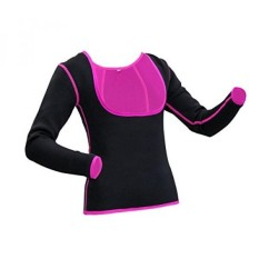 GoldFin Neoprene Long Sleeves Top Women Sweat Suit for Weight Loss Black Body Shapers BS004 (Black+Fuchsia, M) - intl