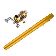 BAGUS Mini Portable Aluminium Alloy Pocket Bentuk Pena Ikan Fishing Rod Tiang dengan Reel