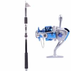 Serat Karbon Grafit Travel Portable Super Hard Fishing Rods YG2.1M + Rocker Spinning Wheel Line Gear YL2000 Biru-Intl