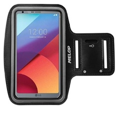 GX Melop Armband For Lg G6 Lg Lv3, 5.7Inch Professional Light Weight Soft Sweat Resistant Spor Jogging Gym Arm Band With Key Holder Card Ca Pocket - Black