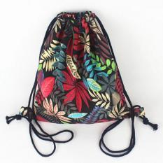 The Sports Ransel Serut Tali Kanvas Gambar Wisata Pantai Bucket Bag Shoulder Bags Merah