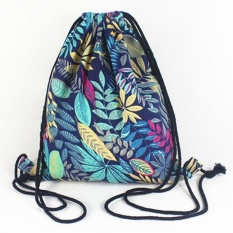 Gym Drawstring Backpack Kanvas Draw String Bucket Bag PE Perjalanan Tas  Bahu TT Blue 55fae7648707c