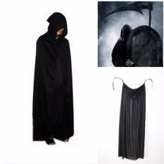 Halloween Kostum Theater Menopang Kematian Hoody Jubah Devil Panjang Tippet Jubah Hitam-Internasional By Blue Sea.