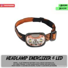 Spesifikasi Headlamp Energizer Headlight 6 Led 3 Mode Light Cahaya Terang Free Baterai Lengkap Dengan Harga
