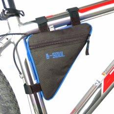 HengSong Tahan Air Segitiga Botol Air Saku Sepeda Depan Tabung Frame Bags Gunung MTB Sepeda Kantung Tempat Dudukan Bag Riding Aksesoris (Hitam + Biru) -Intl