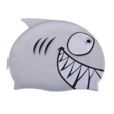 HKS Indah Topi Renang Anak Kartun Silicon Menyelam Tahan Air Shark Silver