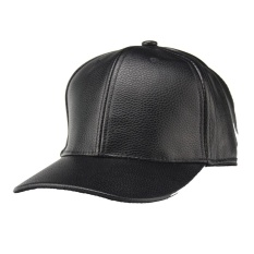 Hot Sales PU Leather Solid Color Blank Women Men Hiphop Ajustable Flat Visor Baseball Cap Red Trend