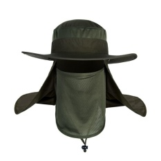 Hot Selling Outdoor Neck Protection Waterproof Sunshine Blocking Bush Hat Jungle Hat Sun Hat (Army Green) - intl