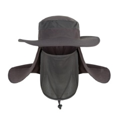 Hot Selling Unisex Outdoor Neck Protection Waterproof Sunshine Blocking Bush Hat Jungle Hat Sun Hat (Grey)-Intl