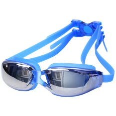 Icantiq Kacamata Renang Santai Swimming Goggles Mirror Anti Fog Swimming Google UV Protection Kaca Mata Renang Swimming Glass + Packing Kotak Crystal Mika Transparant Anti Silau- Biru
