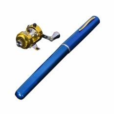 Spesifikasi Igogo Mini Saku Portabel Bentuk Pena Aluminium Paduan Ikan Pancingan Gulung Biru Intl Lengkap