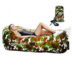 Inflatable Lounger - Portable Air Chair & Blow up Sofa with Headrest & Hold Air Longer Design Ideal For Lounging, Camping, Beach, Fishing, Parties, Pools, Traveling, Backyard, Park (Camouflage) - intl