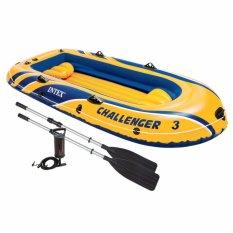 Intex Challenger 3 Boat (pompa+dayung) Perahu Karet 3 Orang Dewasa 68370 By Sportsite.