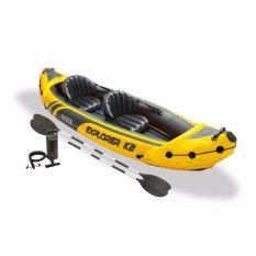Intex Explorer K2 Kayak Set Kuning (pompa+dayung) Perahu Karet Double Seat Dewasa 68307 By Sportsite.