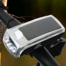 Justgogo Mountain Bicycle Bike LED Depan Lampu Utama Rainproof Solar Muatan USB dengan Horn-Intl