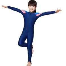 Anak-anak Panjang Lengan UPF50 + Sun UV Perlindungan Tubuh Penuh Swimsuit untuk Girls XL (130-140 Cm) -Intl