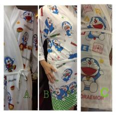 Kimono Baju Handuk Dewasa Dasar Putih Sablon Doraemon - B6e7bb