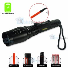 Cuci Gudang Kokasport Senter Highlight Torch 2 Battery Waterproof Rechargeable Hitam