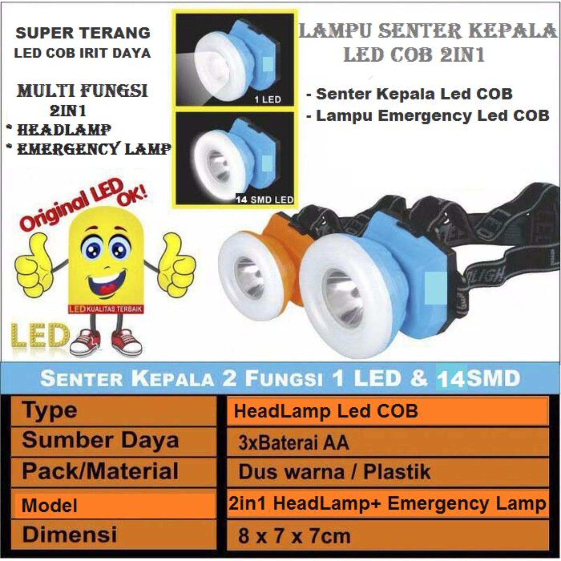 Pencari Harga Lampu Senter Kepala LED COB 2in1 - Head Lamp Led 2in1 dan emergency lamp led cob - senter kepala 2fungsi terbaik murah - Hanya Rp57.760