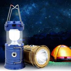 Lampu Senter Lentera Emergency LED Solar Rechargeable Camping Light with Flashlight - BIRU