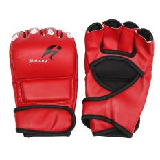 Kulit Gel Tech MMA UFC Bergulat Sarung Tangan Pertarungan Tinju Punch Tas Pelatihan Merah-Intl
