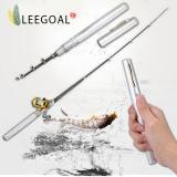 Harga Leegoal Campuran Aluminium Roda Drum Mini Pocket Fishing Rod Joran Bentuk Pena Perak Murah