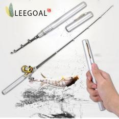Jual Beli Leegoal Campuran Aluminium Roda Drum Mini Pocket Fishing Rod Joran Bentuk Pena Perak