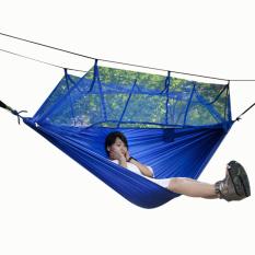 Beli Leegoal Satu Orang Tempat Tidur Gantung Hanging Bed Tempat Tidur Gantung Dengan Kekuatan Tinggi Portabel Kain Kelambu Untuk Perjalanan Berkemah Di Luar Ruangan Biru Yang Bagus