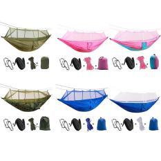 Light Outdoor Bernapas Nyamuk Net Hammock Anti-rollover Lapangan Camping Leisure Parasut Penyebaran Swing Hanging Kursi Warna: Kamuflase (Kain Poliester) 260*140