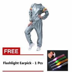 Lucky Sport Sauna Suit Baju Sauna Pembakar Lemak - Silver + Gratis Flashlight Earpick - 1 Pcs