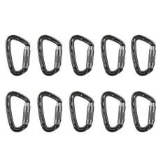 Harga Magideal 10 Pieces 24Kn Aluminium Carabiner D Bentuk Mengunci Diri For Climbing Grey Termahal