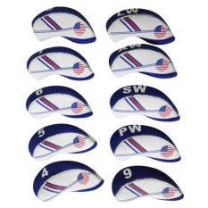 Harga Magideal 10 Pieces Putih Blue Usa Flag Neoprene Golf Club Besi Kepala Cover Headcover Intl Terbaik