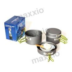 MAXXIO Alat Masak Camping 2-3 Orang Set Lengkap 4 Panci Anodized Aluminium + 6 Accesories Type301x