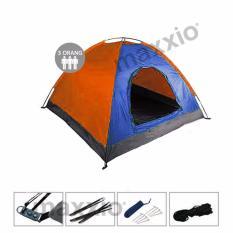 Spesifikasi Maxxio Tenda Camping 3 Orang Ukuran 200Cm X 150Cm Biru Orange Maxxio Terbaru