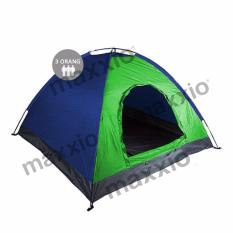 Maxxio Tenda Camping 3 Orang Ukuran 200Cm X 150Cm Hijau Biru Asli