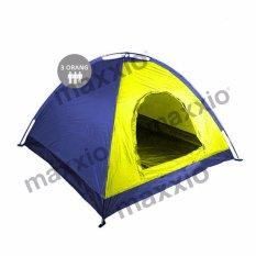 Beli Maxxio Tenda Camping 3 Orang Ukuran 200Cm X 150Cm Kuning Biru Yang Bagus
