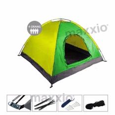 Diskon Maxxio Tenda Camping 4 Orang Ukuran 200Cm X 200Cm Hijau Kuning Akhir Tahun