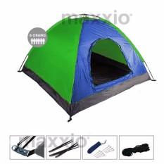 Spesifikasi Maxxio Tenda Camping 6 Orang 220Cm X 250Cm Double Layered Door Biru Hijau Murah