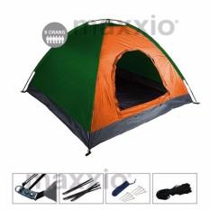 Toko Maxxio Tenda Camping 6 Orang 220Cm X 250Cm Double Layered Door Orange Hijau Maxxio