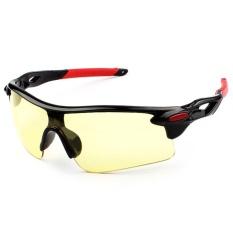 DSstyles Pria Wanita Sun Kacamata Retro Cermin Vintage Gaya Shades Sport Bersepeda Goggles Kacamata Spesifikasi: bright Black Frame Night Vision (Merah Kaki Set)